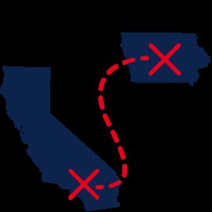 iowa to california transfer icon